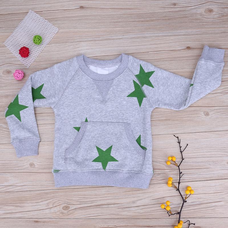 chinatera Kids European Star Printed Pocket Pullover Fleece Leisure Children Sweatershirt Gray Winter Baby Boy Clothes