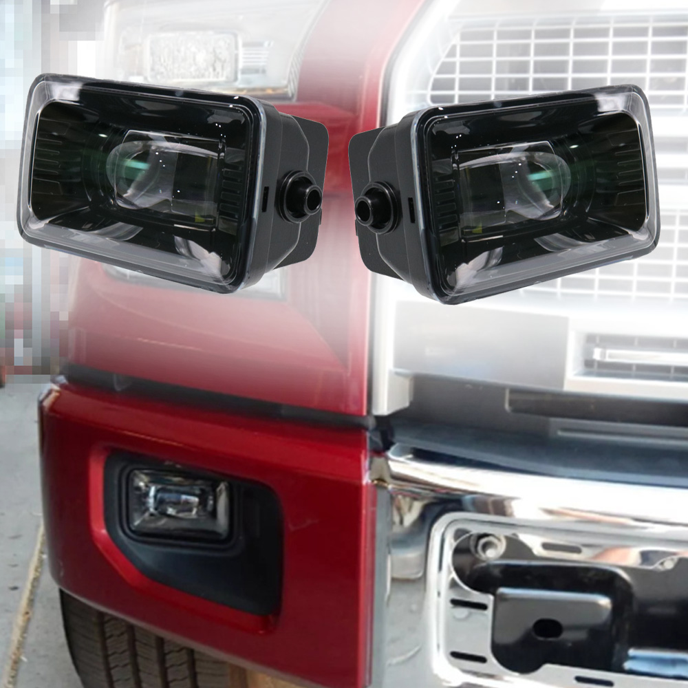 2pcs 4 Inch LED Rectangle Round Fog Light Driving Lamp For Ford F150 Projector H11 LED