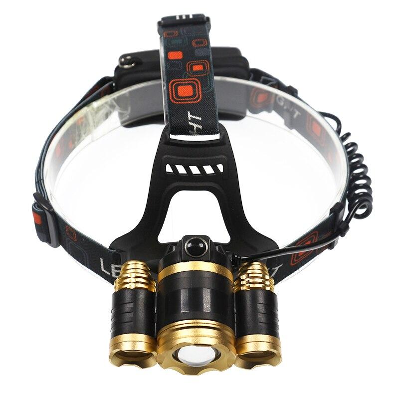 Portable Lighting powerful 4 modes 3x T6 led bulb headlamp Zoomable Focus Beam headlights head flash
