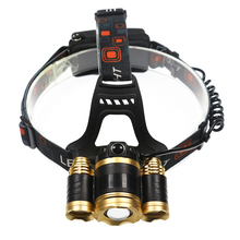 Portable Lighting powerful 4 modes 3x T6 led bulb headlamp Zoomable Focus Beam headlights head flash light for 18650 charger
