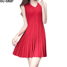 Women Summer Knitted Pleated Dress Red and Back Draped Ruffles Hem V neck Sleeveless New Fashion