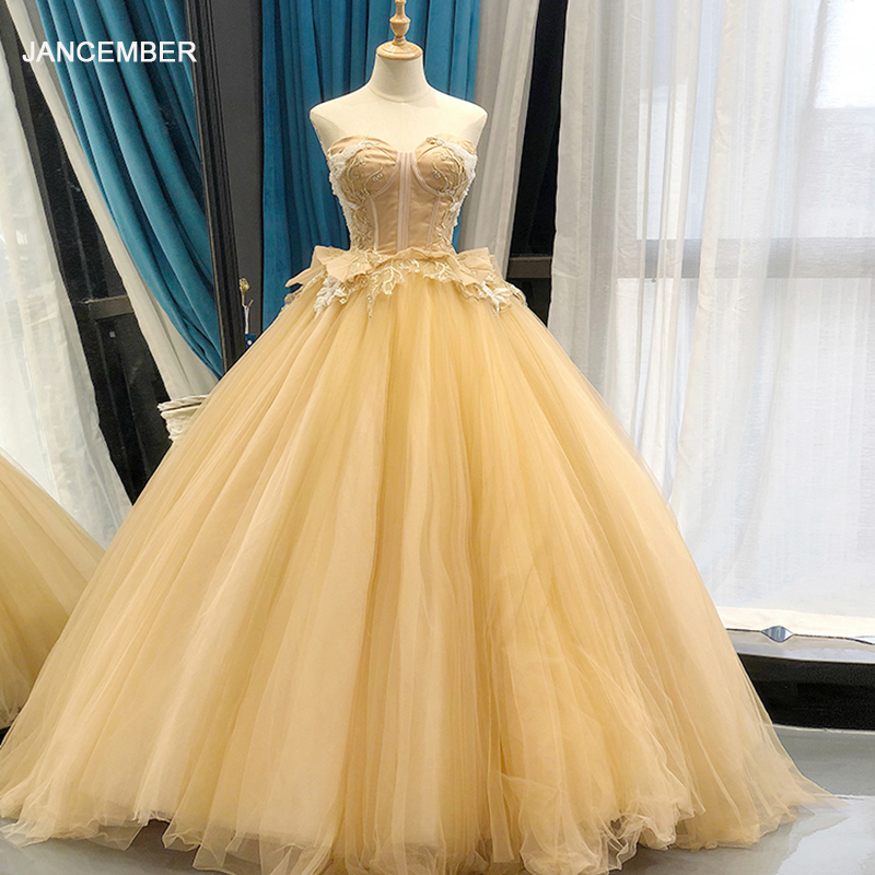 J66351 jancember sexy evening dresses elegant ball gown strapless lace up back appliques floor length prom dress new design 2019