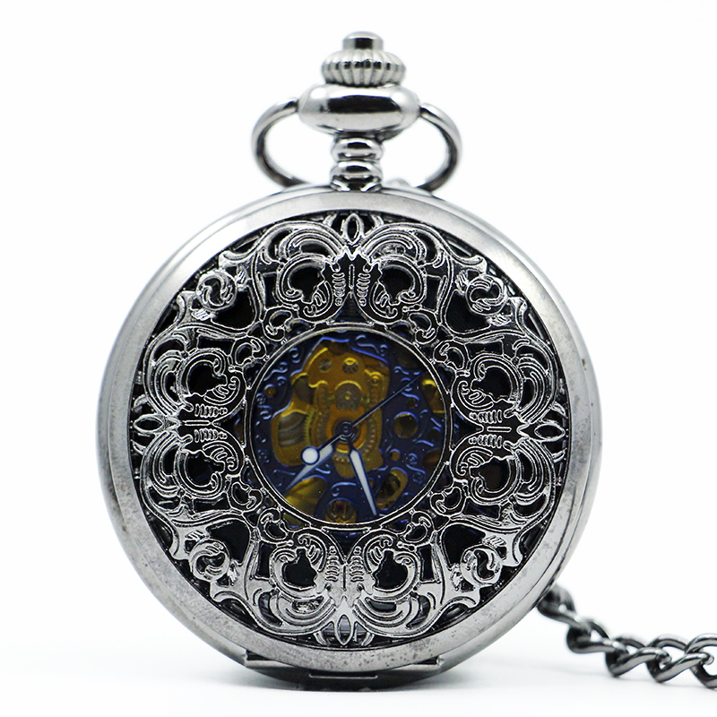 Top Band Silver Antique Skeleton Mechanical Pocket Watch Fashion Casual Pocket & Fob Watches For Men Women PJX1212