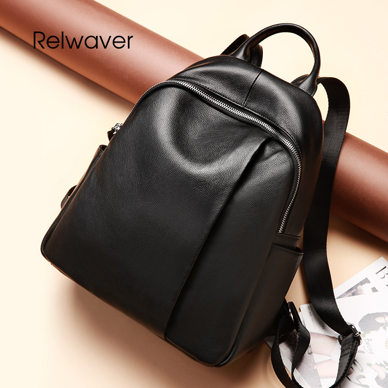 Relwaver genuine leather backpack travel bag school bags backpack women real cow leather black soft casual women bag backpack