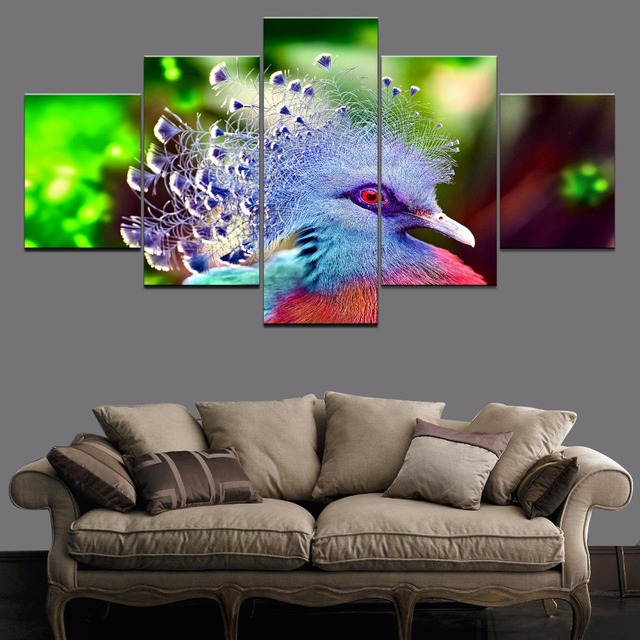 Canvas Wall Art Pictures Home Decor Living Room 5 Pieces Animal Victoria Crowned Pigeon Paintings HD Prints Posters Framework