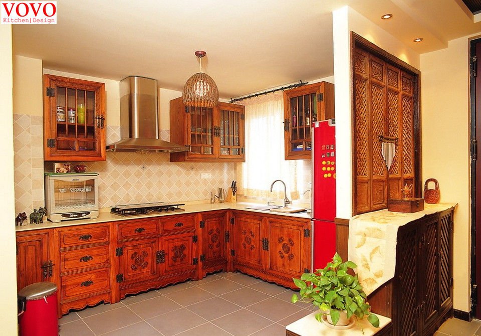 Classical Style American Red Oak Kitchen Cabinets