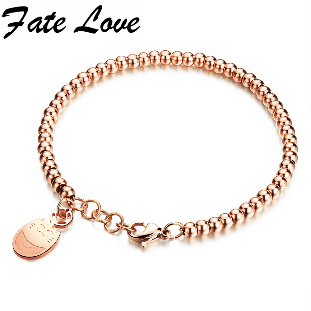 Fate Love Trendy Rose Gold Stainless Steel Silver Charm Bracelets Lucky Fortune Cat Anti-allergy Link Bracelet Woman Gift FL834