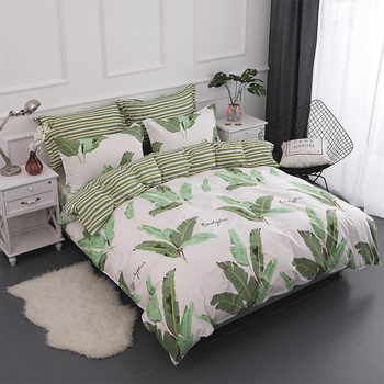 Banana Leaf Printed Home Textile Printed Bedding Set Bed Cover Bed Sheet Duvet Cover Pillowcase Bed Linen Bedclothes Queen