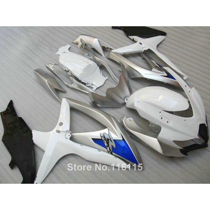 Впрыска ABS обтекатель комплект для SUZUKI K8 GSXR 600 750 2008 2009 2010 Синий Серебристый Белый GSX R600 GSX R750 08 09 10 обтекатели X526