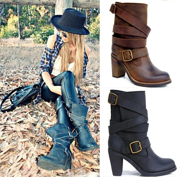 Black Brown Super Leather Motorcycle Boots Women High Heels Ankle Boots Feminine Cowboy Boots Shoes Buckle Round Toe Hot Selling