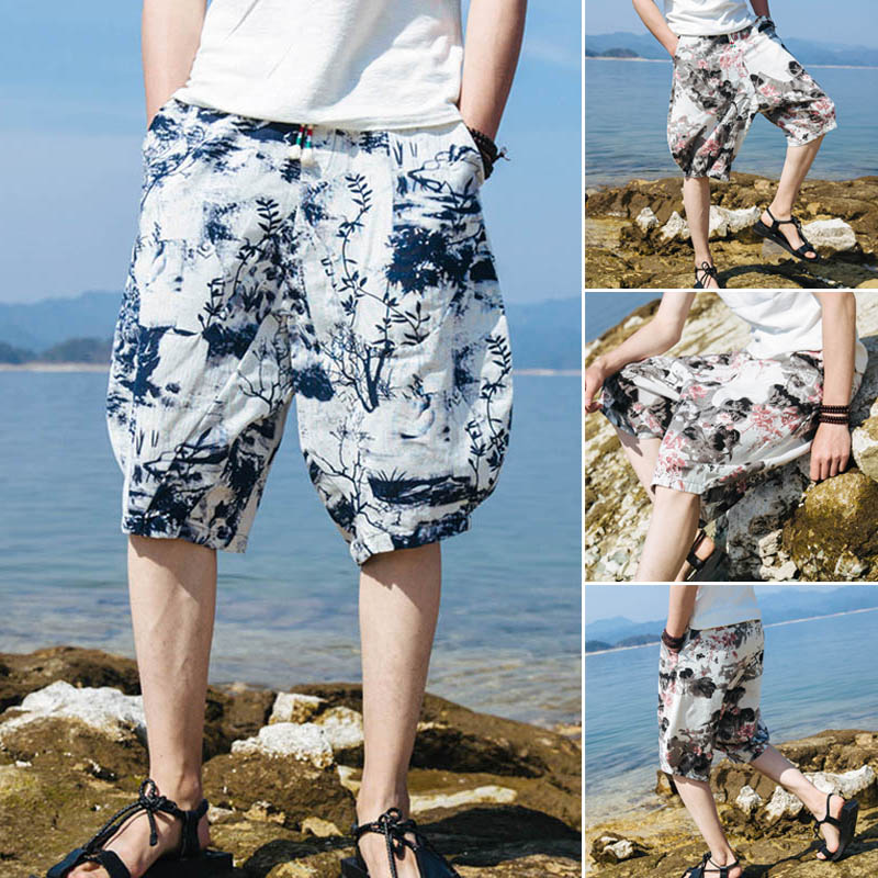 2018 New Chinese Style Casual Shorts Men Knee Length Bermuda Masculina Mens Shorts Homens Male Short Homme