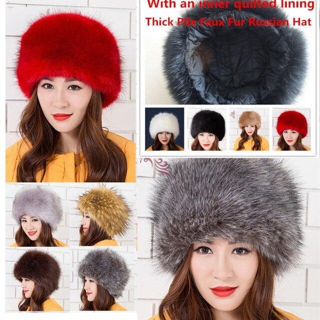 9bbcecd5f32 Men Women Ladies Thick Pile Faux Fur Russian Hat Animal Winter Warm Dome  Caps Faux Fox Fur Hat Black