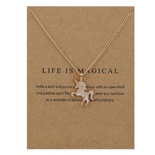 New Fashion Jewelry Life Is Magical Unicorn Horse Alloy Clavicle Statement Necklace Women Girl Choker Necklace Pendant Necklace(China)