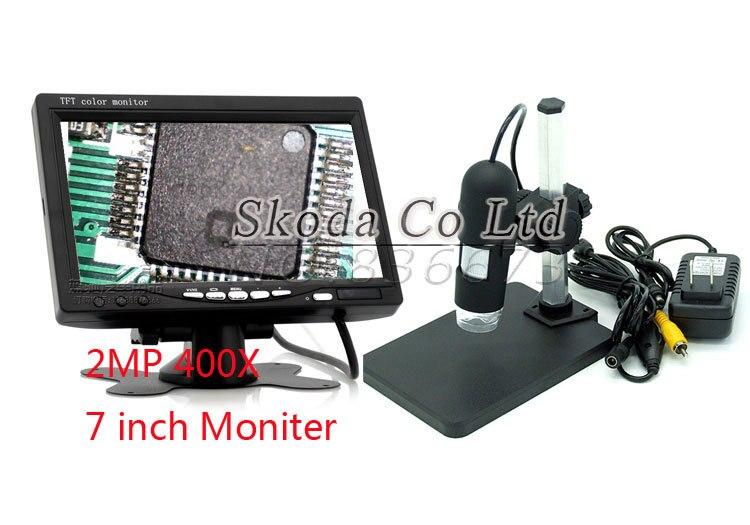 Free shipping 2MP 400X HD Digital AV TV Video Microscope Endoscope Camera set 8 LED light + 7 inch LCD Monitor+Stand Holder