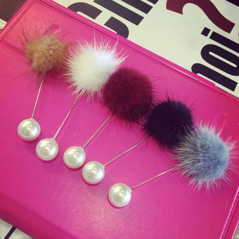 دبابيس زينة جديدة للسيدات 2019 على شكل كرة شعر دبابيس أمان للزينة الإبداعية للسترات/سترات هدية عيد الأم