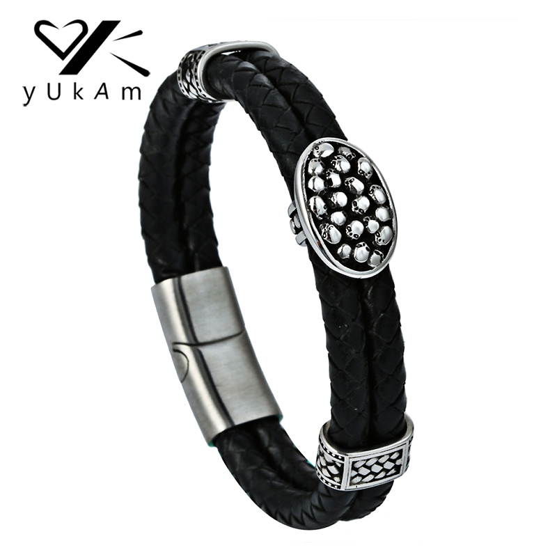 YUKAM Black Leather Weaved Punk Bracelets Bangles Stainless Steel Skull Skeleton Double Layer Magnet Braided Bracelets for Men