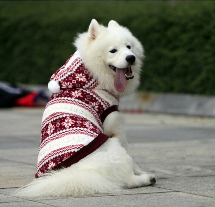 Retail High Quality Snowflake Winter Large Dog Clothes Fleece Warn