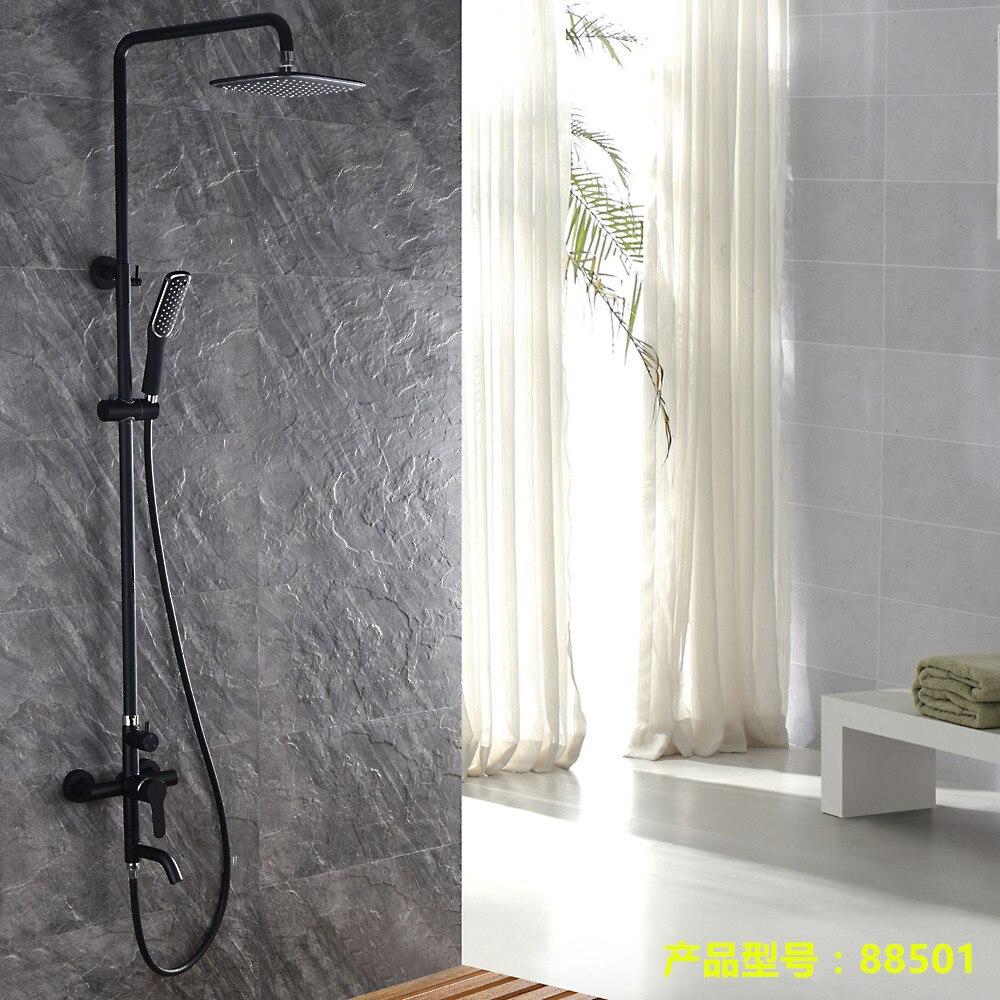 Ensemble de douche noir peinture givrée robinet de douche noir cuivre douche chaude et froide LO5111108