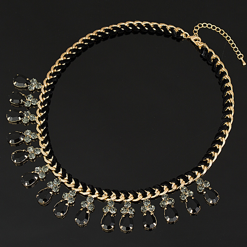 YFJEWE Fashion Thick Chain Weave black Rhinestones Crystal Beads Choker Luxury Chunky Necklace Statement Jewelry #N009
