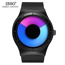 IBSO Men Watches 2017 Top Brand Luxury Steel Mesh Strap Geneva Quartz Sport Watch Men Fashion Blue Ocean Style Relogio Masculino