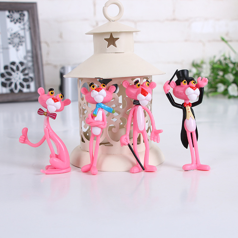 4 Pcs/lot  Action & Toy Figures Pink Panther Doll Cute Doll Micro Landscape Decoration Cartoon Naughty Leopard Model