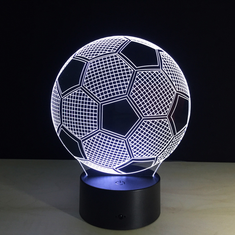Promotion 3D USB LED Night Light Novelty Desk Lamp Touch Switch Table Lamp Luminaria Christmas Gift Kitap foodball