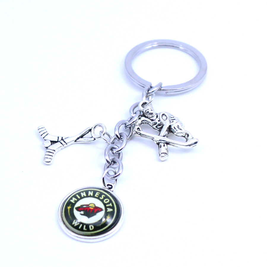 Ice Hockey Keychain NHL Minnesota Wild Charm Key Chain Car Keyring for Women  Men Party Birthday Keyrings Gifts New 2018 27d799706