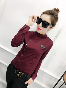 Женские хлопковые рубашки с длинным рукавом и стоячим воротником, эластичные хлопковые блузки для офиса и работы, женские хлопковые топы, ...