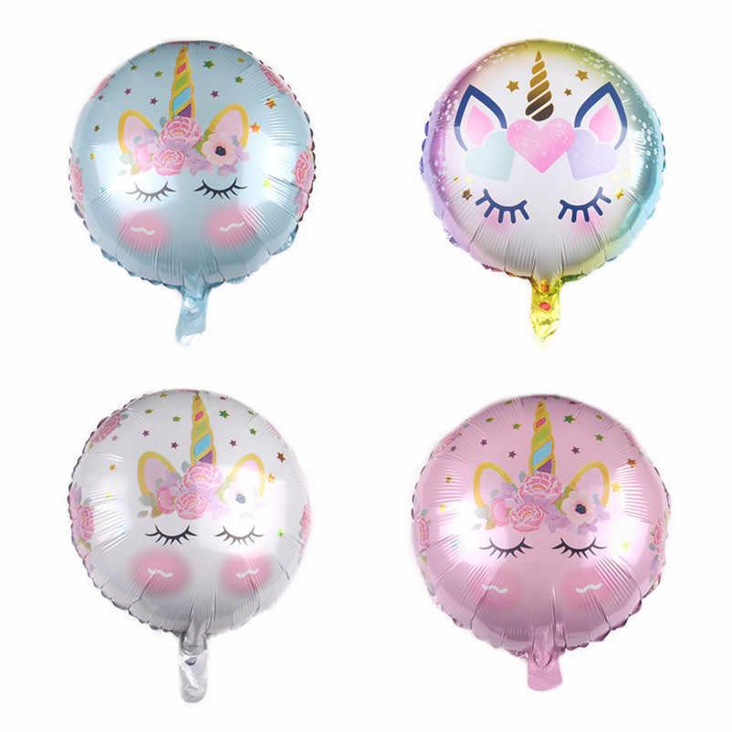 XXPWJ Novo 18-polegada rodada unicórnio férias festa de aniversário balão de alumínio decoração de balões decorativos atacado