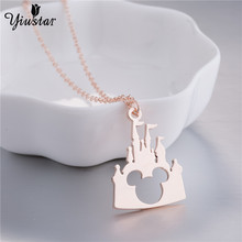 yiustar Stainless Steel Hollow Castle Mickey Head Charm Necklace Fairytale Castle Pendant Necklace Christmas Accessories Gifts