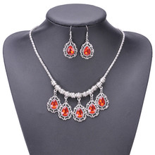 Blue/Red/Green Crystal Waterdrop Wedding Jewelry Sets For Women Statement Pendant Bib Necklace Dangle Earrings Bijoux Gift