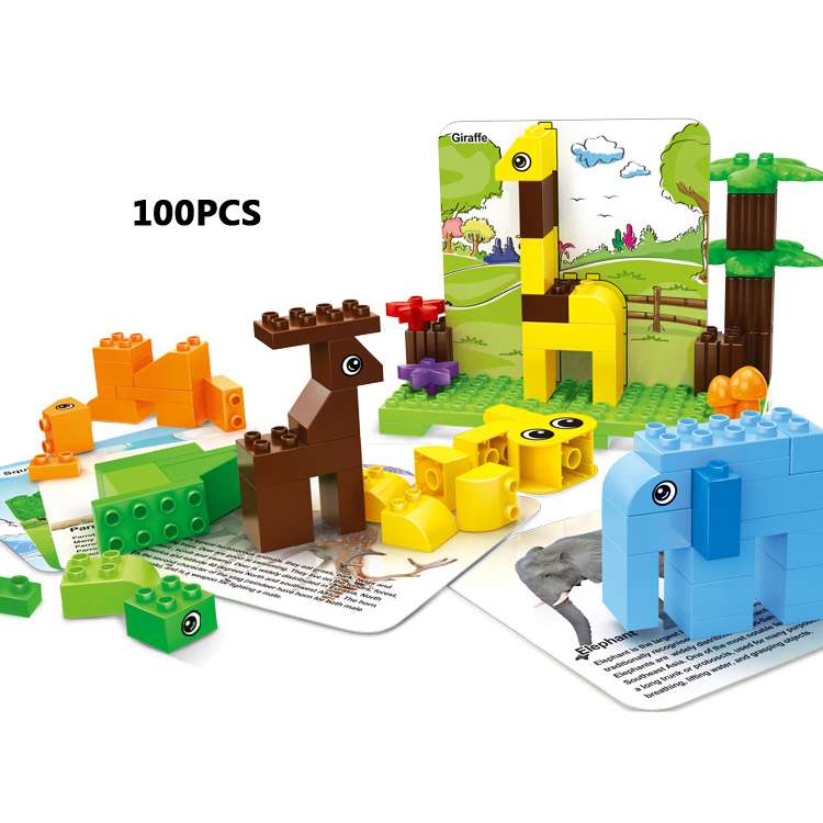 Fun big size building block zoo building block learning cards animals educational brick compatible with duploes Enlightening toy mr froger carcharodon megalodon model giant tooth shark sphyrna aquatic creatures wild animals zoo modeling plastic sea lift toy
