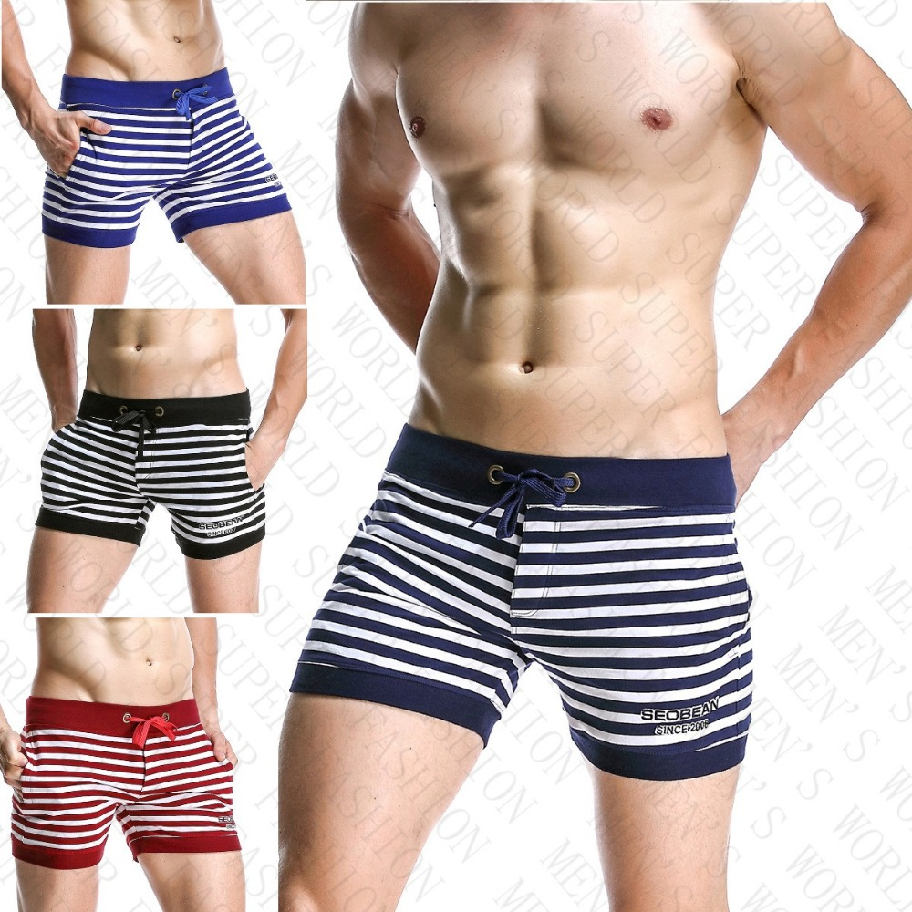 SEOBEAN MEN'S Cotton Shorts Striped Casual Trunks Side Pockets Jogger Shorts Man Gym Wear Stretch Short Cortos Hombres Workout