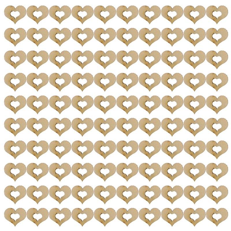 Blank Plain Wooden Hollow Love Heart Wedding Card Making Art Craft Embellishment