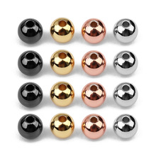 50pcs/lot Gold Rhodium KC Gunblack Color 4 5 6MM Copper Round Ball Spacer Charm Bead Fit DIY Bracelet Jewelry Making Crafts