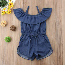 Toddler Kids Girls Denim Strap Romper Ruffle Pocket Jumpsuit Playsuit Clothes Rompers newborn baby girl clothes(China)