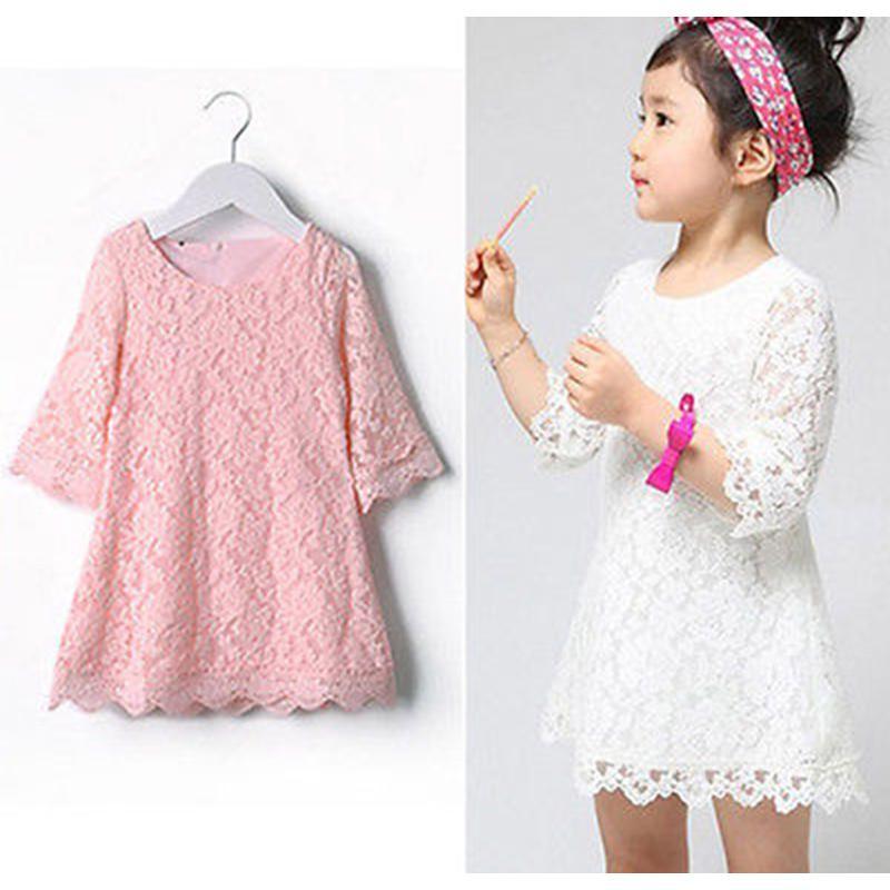 New Baby Girls Flower Lace Dresses 2018 Spring Summer Children's Party Clothing Pink White Solid Kids Dresses for Girls 2018 new spring baby girls dress pink
