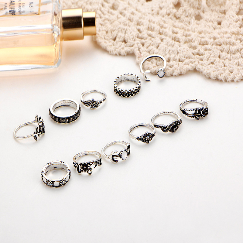 11pcs Vintage Gold/Silver Ring Sets For Women Stainless Steel Wedding Engagement Female Finger Jewelry P3