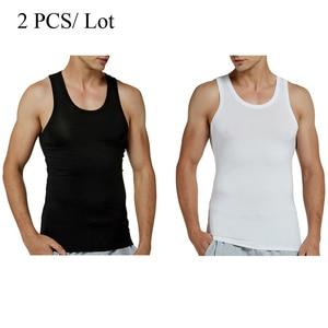 Image 2 - 2 Cái/lốc Xe Tăng Chui Modal Căng Đầy Rắn Vest Nam Thoáng Khí Áo Không Tay Mỏng Cổ Áo Lót Không Gọng Đen (2 Gói)