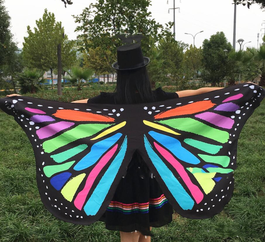 Colorful Monarch Butterfly Wings Belly Dance Costume Accessories Adults Fairy Cloak Mask For Carnival Dance