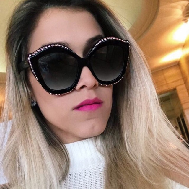 c02fff9c6c Luxury Hand Made Crystal Decoration Oversized Women Cateye Sunglasses  Fashion Ladies Laser Engraving Classic 80s Glasses UV400