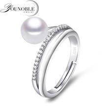 Preal de agua dulce anillo de joyería de plata esterlina 925, bienes naturales anillos de perlas para las mujeres ajustar tamaño aniversario cumpleaños mejor regalo