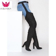 Fashion Women's Over the Knee Boots Pointed Toe Pleated Suede High Heels Long Thigh High Boots Black Sexy Square heel Shoes недорго, оригинальная цена