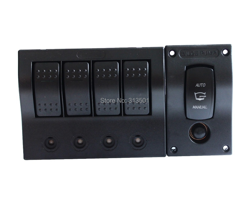 Good Quality 4 GANG ROCKER SWITCH & Bilge Pump Panel Fr MARINE/BOAT/RV WATERPROOF DC 12V/24V 15a dc output car auto boat marine led ac dc rocker switch waterproof panel dual power control overload protection