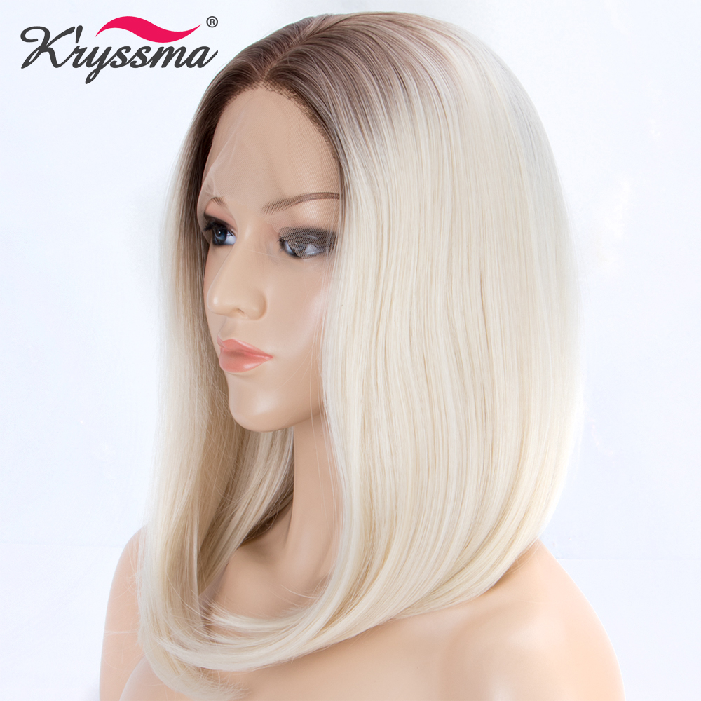 Blonde Short Bob Wigs for Women Synthetic Lace Front Wig Ombre Wig with Light Brown Roots to White Straight Heat Resistant Fiber