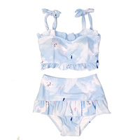 Female Sexy Blue 2 Piece Set Swimwear Kawaii Cats Printed Beach Swimming Pool Women Swimsuit Quick Dry Lace Up Bathing Suit