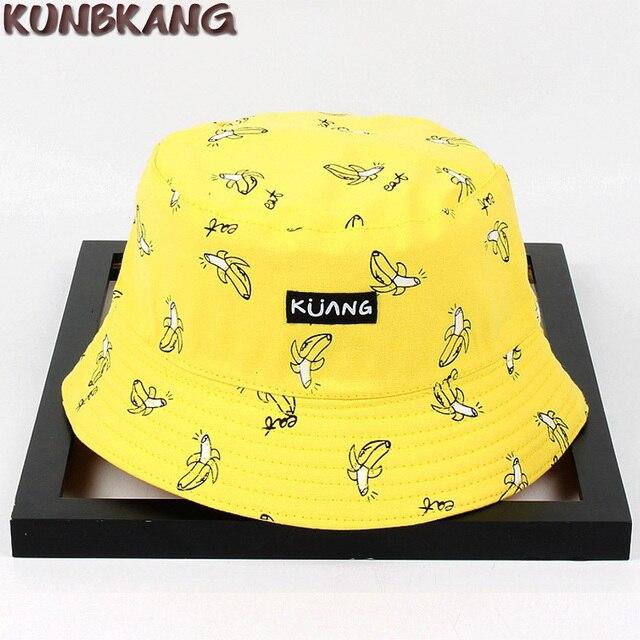 bdca05e9beb Women Summer Cotton Bucket Hat Banana Bob Cap Hip Hop Printing Fisherman  Sun Hat Ladies Outdoor