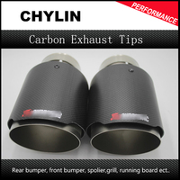 Free Shipping 2PCS 63mm Inlet 101mm Outlet Stainless Steel Akrapovic Carbon Fiber Exhaust Tip For VW