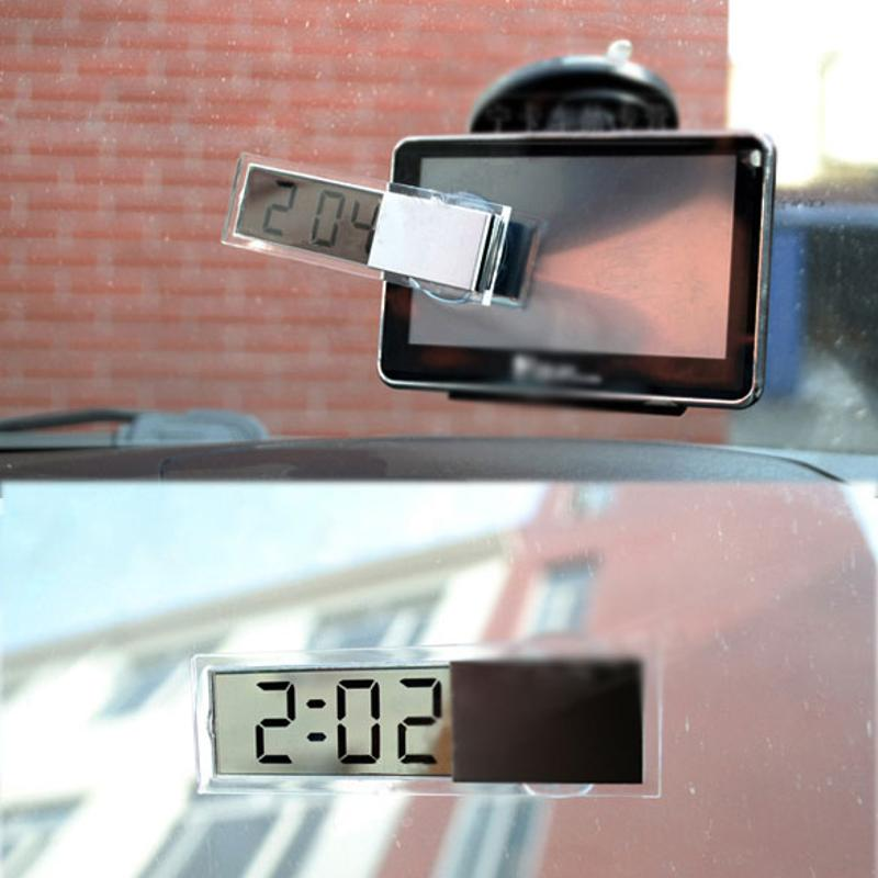 Mini Durable Transparent Clock with Sucker Digital LCD Display Car Electronic Clock with Sucker Interior Accessories