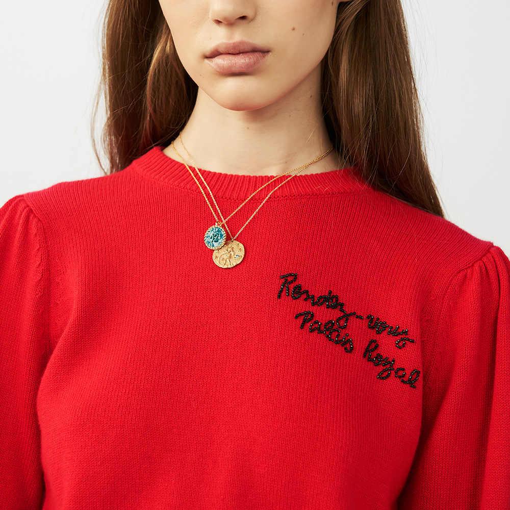 Французская звезда зодиака 12 Созвездие ожерелья с монетками и колье-чокер тиснением мечта новый ретро свитер цепи каменный блок нестандартных размеров цвета